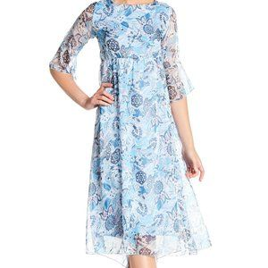 LOLA Blue Floral Print Sheer Chiffon Midi Dress